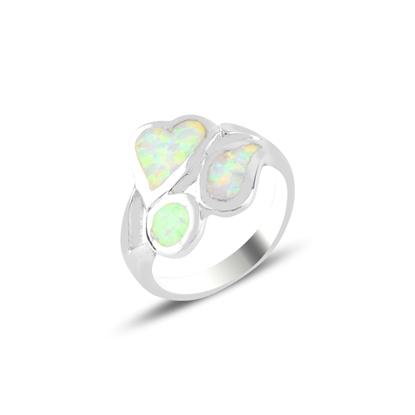 Resim Rodyum Kaplama Opal Taşlı Gümüş Bayan Yüzük
