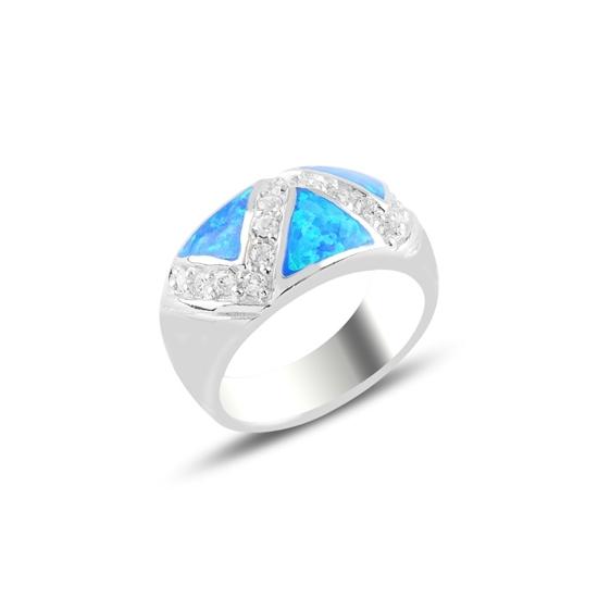 Ürün resmi: Rodyum Kaplama Opal & Zirkon Taşlı Gümüş Bayan Yüzük