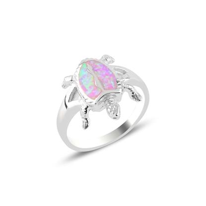 Resim Rodyum Kaplama Kaplumbağa Opal Taşlı Gümüş Bayan Yüzük