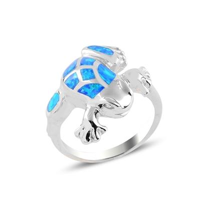 Resim Rodyum Kaplama Kurbağa Opal Taşlı Gümüş Bayan Yüzük
