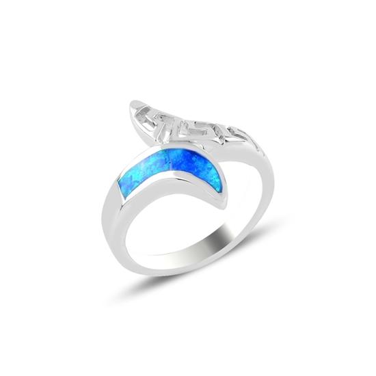 Ürün resmi: Rodyum Kaplama Yusufçuk Opal Taşlı Gümüş Bayan Yüzük