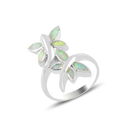 Resim Rodyum Kaplama Yusufçuk Opal Taşlı Gümüş Bayan Yüzük