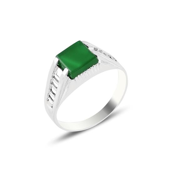 Ürün resmi: Green Akik Taşlı Gümüş Erkek Yüzük