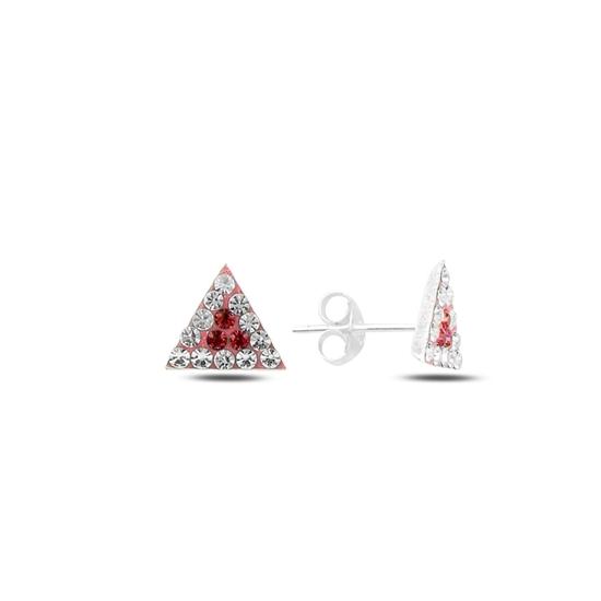 Ürün resmi: Garnet Zirkon (Koyu Kırmızı) Üçgen Kristal Taşlı Gümüş Küpe