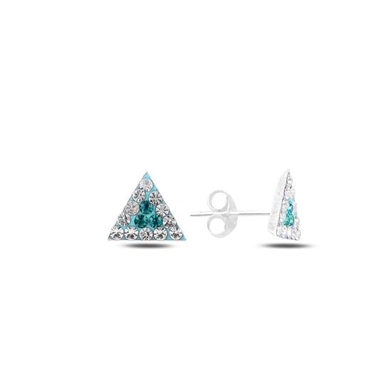 Ürün resmi: Turkuaz Zirkon Üçgen Kristal Taşlı Gümüş Küpe