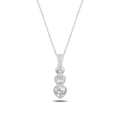 Resim Rodyum Kaplama Süzme Kalp Zirkon Taşlı Gümüş Bayan Kolye