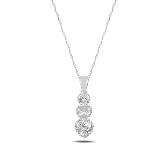 Ürün resmi: Rodyum Kaplama Süzme Kalp Zirkon Taşlı Gümüş Bayan Kolye