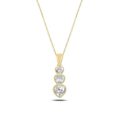 Resim Altın Kaplama Süzme Kalp Zirkon Taşlı Gümüş Bayan Kolye