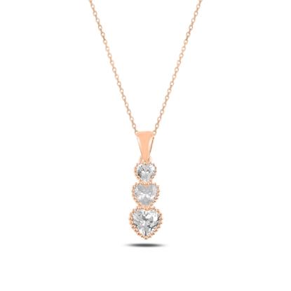 Resim Rose Kaplama Süzme Kalp Zirkon Taşlı Gümüş Bayan Kolye