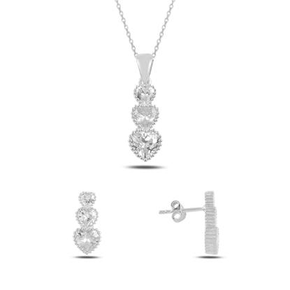 Resim Rodyum Kaplama Süzme Kalp Zirkon Taşlı Gümüş Bayan Set