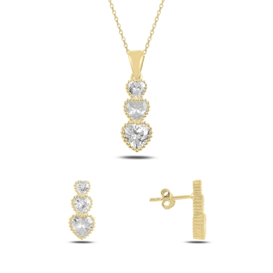 Ürün resmi: Altın Kaplama Süzme Kalp Zirkon Taşlı Gümüş Bayan Set