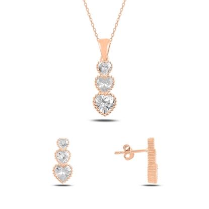 Resim Rose Kaplama Süzme Kalp Zirkon Taşlı Gümüş Bayan Set