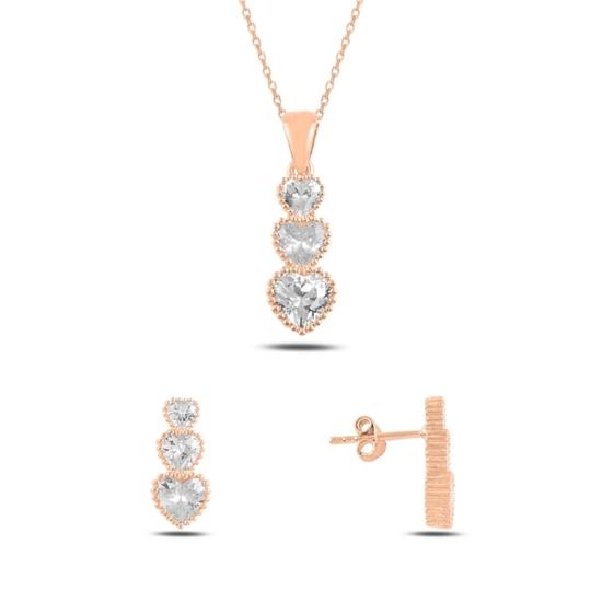 Ürün resmi: Rose Kaplama Süzme Kalp Zirkon Taşlı Gümüş Bayan Set