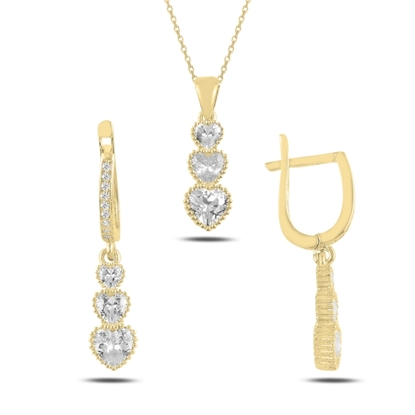 Resim Altın Kaplama Süzme Kalp Zirkon Taşlı Gümüş Bayan Set