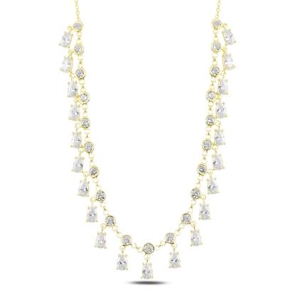 Resim Altın Kaplama Sallantılı Zirkon Taşlı Gümüş Bayan Kolye