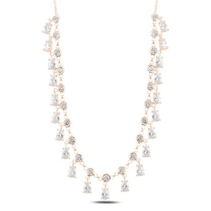 Resim Rose Kaplama Sallantılı Zirkon Taşlı Gümüş Bayan Kolye