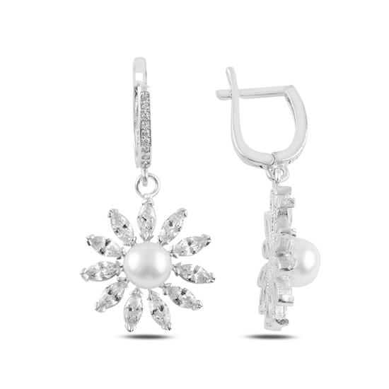 Ürün resmi: Rodyum Kaplama İnci & Zirkon Taşlı Papatya Gümüş Küpe