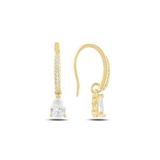 Ürün resmi: Altın Kaplama Damla Zirkon Taşlı Gümüş Sallantılı Küpe