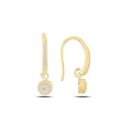 Resim Altın Kaplama Zirkon Taşlı Gümüş Sallantılı Küpe