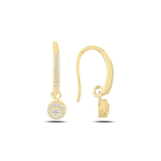Ürün resmi: Altın Kaplama Zirkon Taşlı Gümüş Sallantılı Küpe