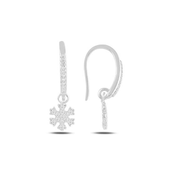 Ürün resmi: Rodyum Kaplama Sallantılı Kar Tanesi Zirkon Taşlı Gümüş Küpe
