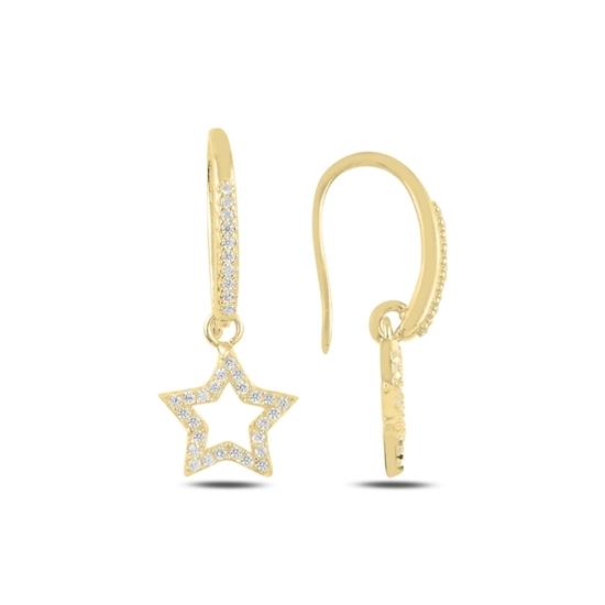 Ürün resmi: Altın Kaplama Sallantılı Yıldız Zirkon Taşlı Gümüş Küpe