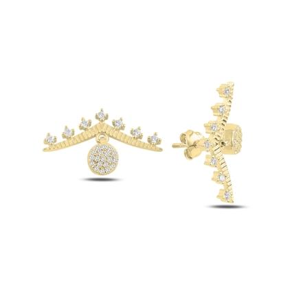 Resim Altın Kaplama Zirkon Taşlı Gümüş Küpe