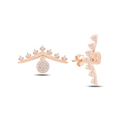 Resim Rose Kaplama Zirkon Taşlı Gümüş Küpe