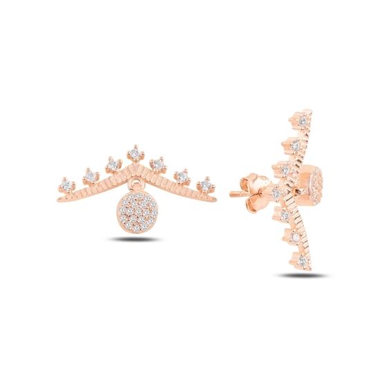 Ürün resmi: Rose Kaplama Zirkon Taşlı Gümüş Küpe
