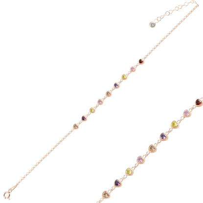 Resim Rose Kaplama Kalp Renkli Zirkon Taşlı Doç Zincirli Gümüş Bayan Bileklik
