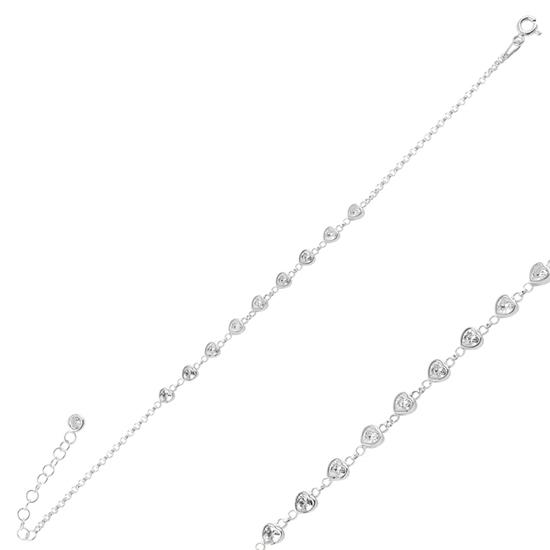 Ürün resmi: Rodyum Kaplama Kalp Zirkon Taşlı Doç Zincirli Gümüş Bayan Bileklik