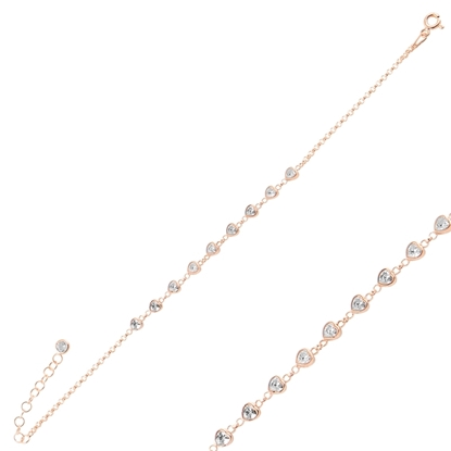 Resim Rose Kaplama Kalp Zirkon Taşlı Doç Zincirli Gümüş Bayan Bileklik