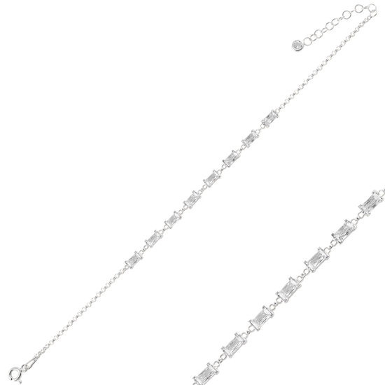Ürün resmi: Rodyum Kaplama Baget Zirkon Taşlı Doç Zincirli Gümüş Bayan Bileklik