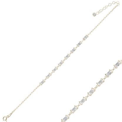 Resim Altın Kaplama Baget Zirkon Taşlı Doç Zincirli Gümüş Bayan Bileklik