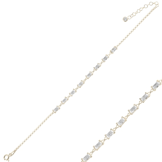 Ürün resmi: Altın Kaplama Baget Zirkon Taşlı Doç Zincirli Gümüş Bayan Bileklik