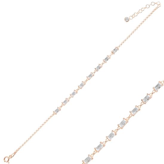 Ürün resmi: Rose Kaplama Baget Zirkon Taşlı Doç Zincirli Gümüş Bayan Bileklik