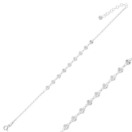 Ürün resmi: Rodyum Kaplama Kare Zirkon Taşlı Doç Zincirli Gümüş Bayan Bileklik