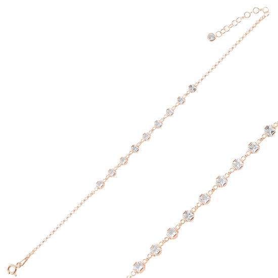 Ürün resmi: Rose Kaplama Kare Zirkon Taşlı Doç Zincirli Gümüş Bayan Bileklik