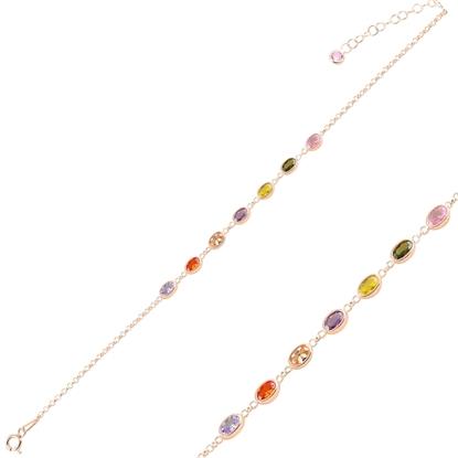 Resim Rose Kaplama Oval Renkli Zirkon Taşlı Doç Zincirli Gümüş Bayan Bileklik