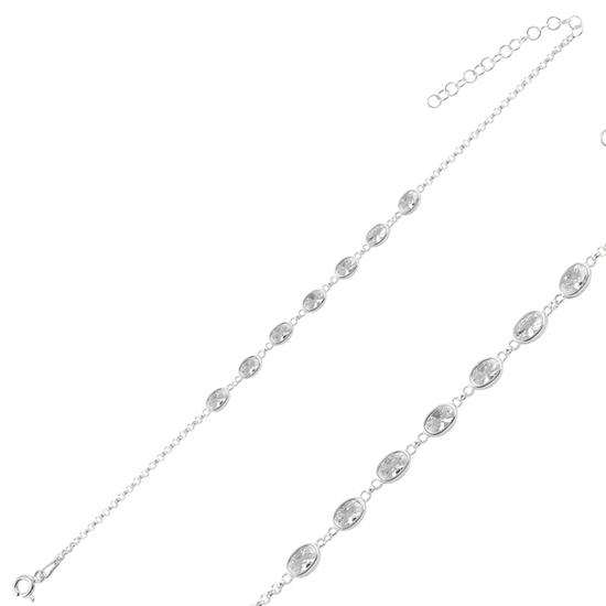 Ürün resmi: Rodyum Kaplama Oval Zirkon Taşlı Doç Zincirli Gümüş Bayan Bileklik