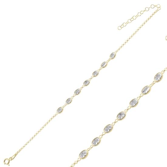 Ürün resmi: Altın Kaplama Oval Zirkon Taşlı Doç Zincirli Gümüş Bayan Bileklik
