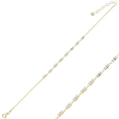 Resim Altın Kaplama Mekik Zirkon Taşlı Doç Zincirli Gümüş Bayan Bileklik