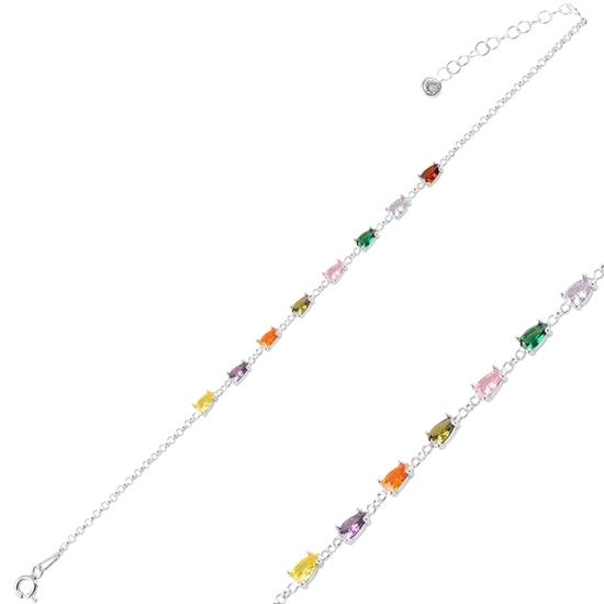 Ürün resmi: Rodyum Kaplama Damla Renkli Zirkon Taşlı Doç Zincirli Gümüş Bayan Bileklik
