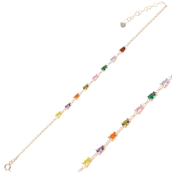 Ürün resmi: Rose Kaplama Damla Renkli Zirkon Taşlı Doç Zincirli Gümüş Bayan Bileklik