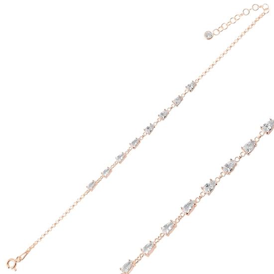 Ürün resmi: Rose Kaplama Damla Zirkon Taşlı Doç Zincirli Gümüş Bayan Bileklik