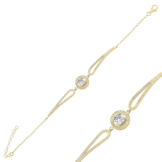 Ürün resmi: Altın Kaplama Yuvarlak Zirkon Taşlı Gümüş Bayan Bileklik