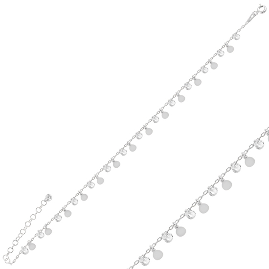 Ürün resmi: Rodyum Kaplama Sallantılı Pul & Zirkon Taşlı Halhal
