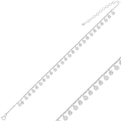 Resim Rodyum Kaplama Sallantılı Pul & Zirkon Taşlı Halhal