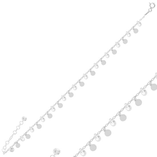 Ürün resmi: Rodyum Kaplama Sallantılı Pul & Zirkon Taşlı Gümüş Bayan Bileklik