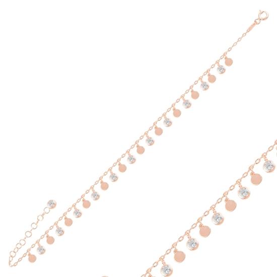 Ürün resmi: Rose Kaplama Sallantılı Pul & Zirkon Taşlı Gümüş Bayan Bileklik